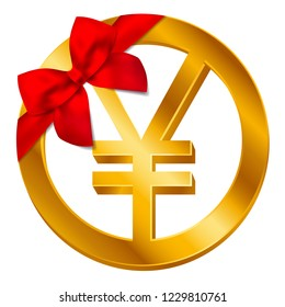 Vector money Japanese yen sign (Yen coin icon) with red bow, ribbon isolated on white background. Golden JPY coin symbol design, Japanese currency banking concept illustration