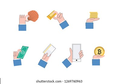 Vector money, payment methods evolution concept from barter trade to cryptocurrency. All stage of financial system development. Gold, metal money, paper banknotes cards, electronic money and bitcoin.