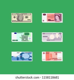Vector money - set of flat pictures with six of major world currencies - US dollar, British pound, Euro, Japanese yen, Swiss franc and Russian Rouble. For small size icons.