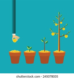 Vector money tree growth concept in flat style