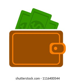 vector money wallet illustration with dollar cash, financial icon - money saving