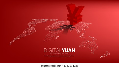 Vector money yuan currency icon 3D with shadow on world map dot line polygon. Concept for China financial and banking.