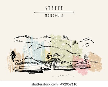 Vector Mongolia postcard. Yurts (gers) traditional Mongolian dwellings in Mongolian steppe. Mountains on background. Travel sketch. Brushpen graphic art. Hand drawn vintage book illustration, postcard