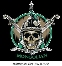 Vector of Mongolian Skull Warrior Emblem Vector Illustration