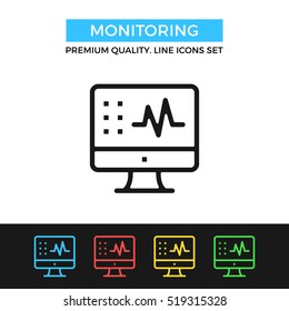 Vector monitoring icon. Medical diagnostic. Premium quality graphic design. Modern signs, outline symbols collection, simple thin line icons set for websites, web design, mobile app, infographics