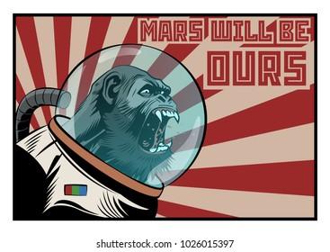 Vector Monkey Astronaut. Mars Colonization Poster