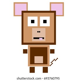 Vector monkey are made of squares and rectangles