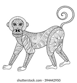 Vector Monkey Zentangle Illustration Marmoset Print For Adult Anti Stress Coloring Page