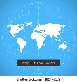Vector mono blue background illustration of Earth made. Techno map of the world.