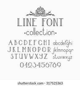 Vector mono line decorative font. Latin alphabet of vintage outline letters. Capitals, smalls and numerals