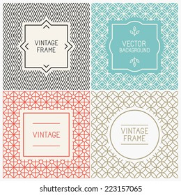 Vector mono line graphic design templates - labels and badges on decorative backgrounds with simple patterns - Shutterstock ID 223157065