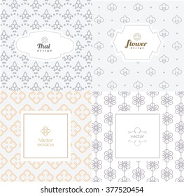 Vector mono line graphic design templates - labels and badges on decorative backgrounds ,style thai pattern.