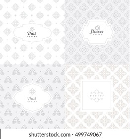 Vector mono line graphic design templates - labels and badges on decorative backgrounds ,style thai pattern