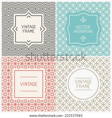vector mono line graphic design templates のベクター画像素材