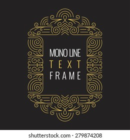 Vector Mono Line style Geometric Frame Template for Text. Golden Monogram Design element for Labels and Badges