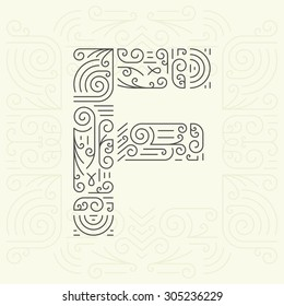 Vector Mono Line style Geometric Font Your for Text, Slogan, Template or Advertising. Golden Monogram Design element for Labels and Badges. Letter F