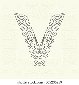 Vector Mono Line style Geometric Font Your for Text, Slogan, Template or Advertising. Golden Monogram Design element for Labels and Badges. Letter V