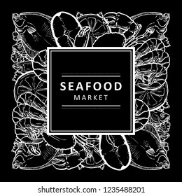 Vector monochrome black fish market, seafood restaurant, cafe logo, advertising poster with square underwater animals sketch pattern. Marine composition with flatfish meat steak, crawfish lemon slice