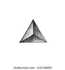 vector monochrome black retro dot art hand drawn triangle prism pyramid geometric volumetric blackwork design element vintage tattoo style decoration isolated shape illustration white background