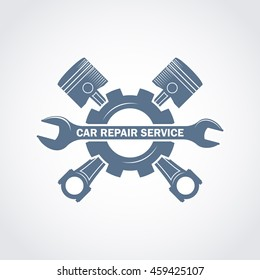 vector monochrome car service logo in retro style with a wrench, pistons and gear; garage car repair service and tuning label, vehicle engine service icon