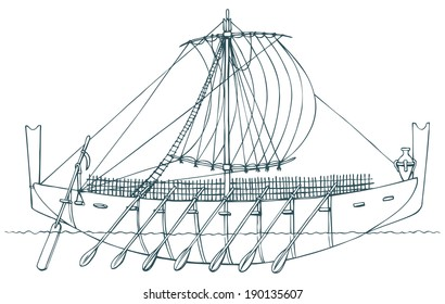 Vector monochrome contour picture in style of book engravings. Ancient ship that was used for swimming Phoenician and Greek seamen and merchants for trading, settling and colonization of new lands