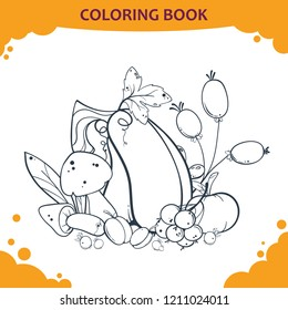 Vector monochrome decorative pumpkin for children coloring book