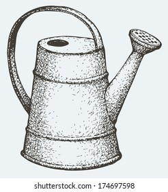 Vector monochrome drawing hatching. Garden watering can