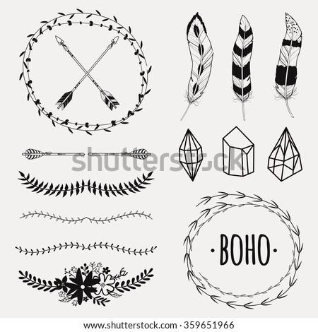 647b1ca76a6 Vector Monochrome Ethnic Set Arrows Feathers Stock Vector (Royalty ...