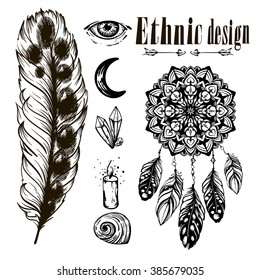 Vector Monochrome Ethnic Set With Crystals BordersTemplates For Invitations Scrapbooking Gypsy