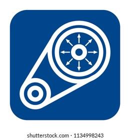 Vector monochrome flat design icon of vibration analysis.  Blue isolated symbol.