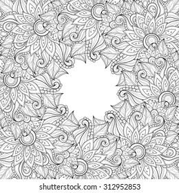 Vector Monochrome Floral Background. Hand Drawn Ornament with Floral Wreath. Template for Greeting Card