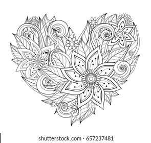 Vector Monochrome Floral Composition in Heart Shape. Hand Drawn Ornament with Flowers. Beautiful Doodle Background for Valentine Greeting Card, Coloring Book Page