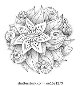 Vector Monochrome Floral Composition in Round Shape. Hand Drawn Ornament with Flowers, Leaves and Herbs. Beautiful Doodle Background with Realistic Shadows