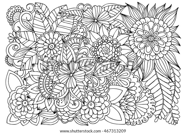 Vector Monochrome Floral Illustration Wildflowers Black Stock Vector Royalty Free 467313209