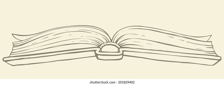 Vector monochrome freehand illustration style handmade ink on paper. Old open book with pages flying in thick hardcover. View from the bottom side on beige background