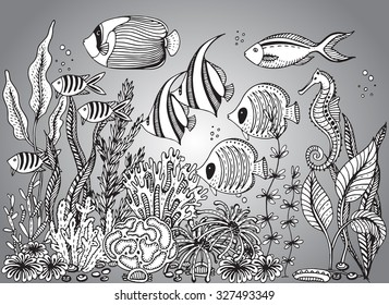Vector monochrome hand drawn illustration with seashell, tropical fishes, seahorse, algae, corals. Underwater world. Black and white hand drawn illustration