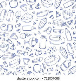 Vector monochrome hand drawn line dairy products pattern background illustration