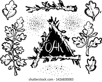 Vector monochrome hand drawn oak leaves, branches and twig frame in retro antique etching style, isolated