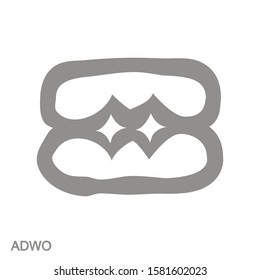 vector monochrome icon with Adinkra symbol Adwo