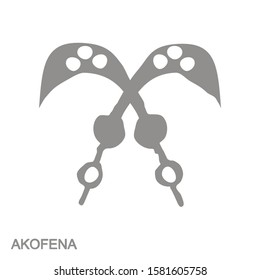 vector monochrome icon with Adinkra symbol Akofena