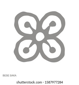 Vector monochrome icon with Adinkra symbol Bese Saka