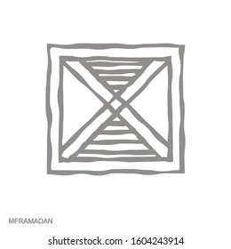 Vector monochrome icon with Adinkra symbol Mframadan
