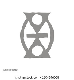 Vector monochrome icon with Adinkra symbol Mmere Dane