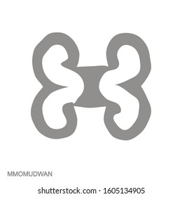 Vector monochrome icon with Adinkra symbol Mmomudwan