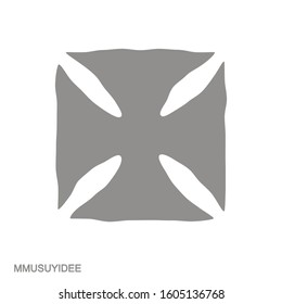 Vector monochrome icon with Adinkra symbol Mmusuyidee