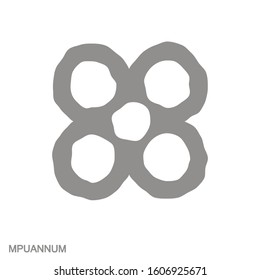 Vector monochrome icon with Adinkra symbol Mpuannum