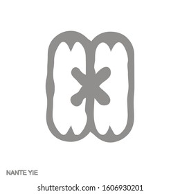 Vector monochrome icon with Adinkra symbol  Nante Yie