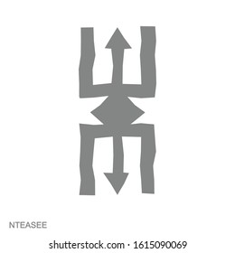 Vector monochrome icon with Adinkra symbol Nteasee