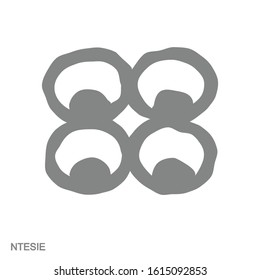 Vector monochrome icon with Adinkra symbol Ntesie