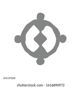 Vector monochrome icon with Adinkra symbol Nya Gyidie